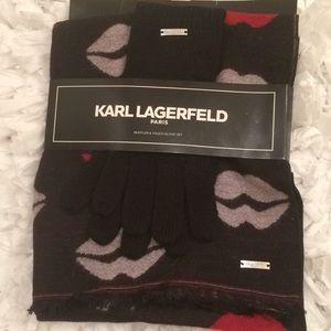 Karl Lagerfeld muffler/scarf and glove set💄
